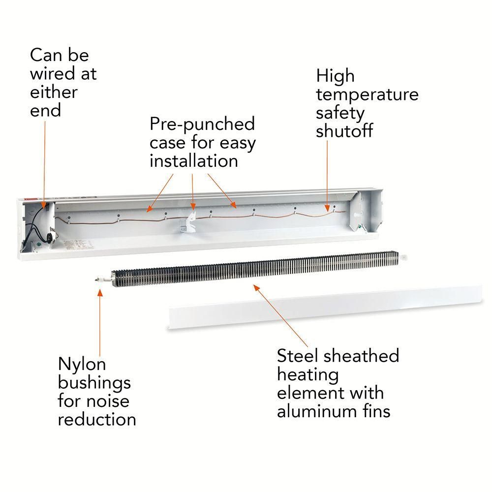 medium resolution of 1 000 watt 120 volt electric baseboard heater in white 4f1000 1w the home depot