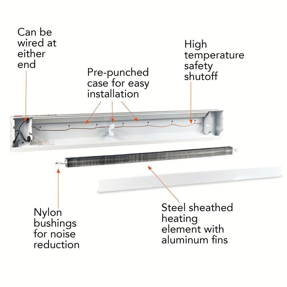 1 000 watt 120 volt electric baseboard heater in white 4f1000 1w the home depot [ 1000 x 1000 Pixel ]