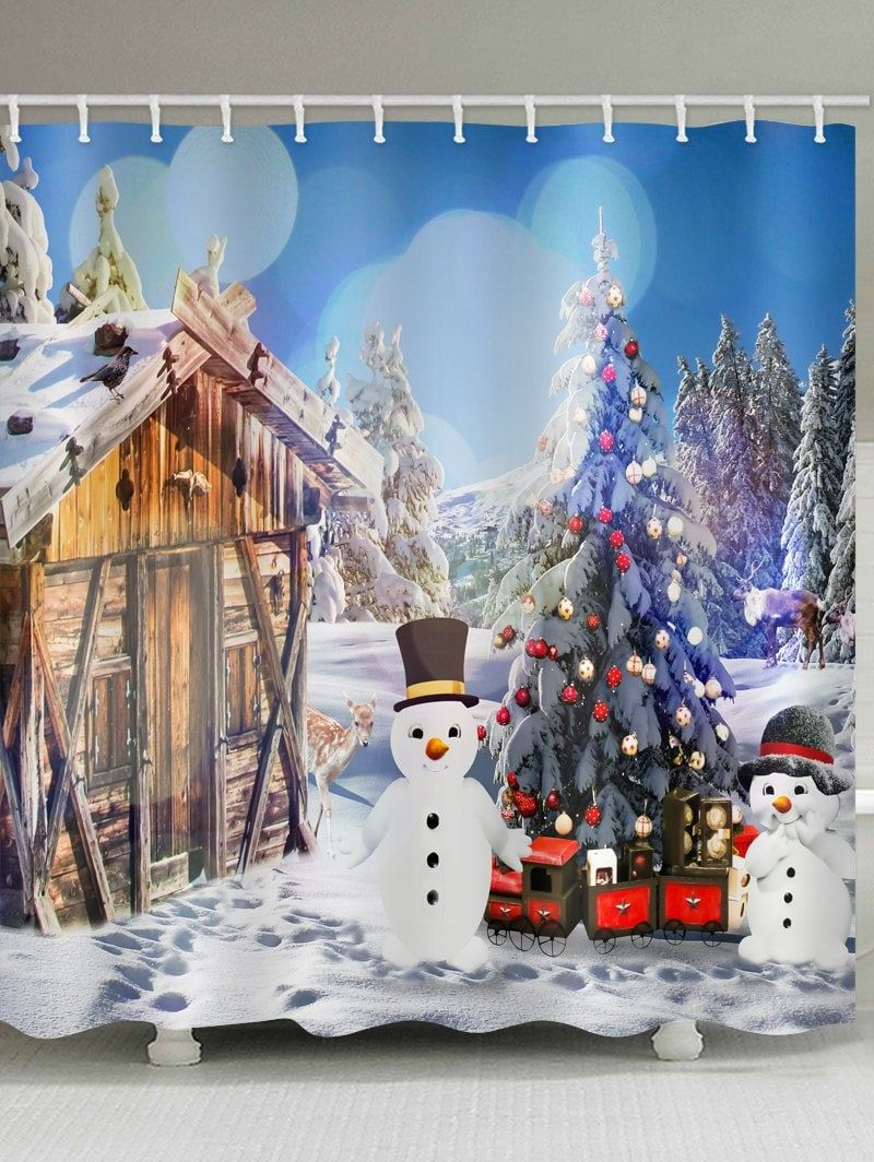 House With Two Snowman Print Bathroom Shower Curtains With