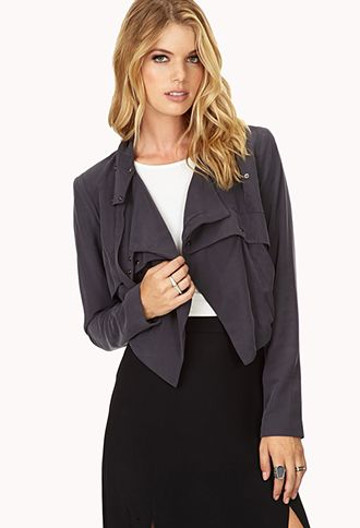 Modernist Cropped Drape Jacket #Fall #fashion Get 4% cash back http://www.studentrate.com/all/get-all-student-deals/Forever21-Student-Discounts--/0