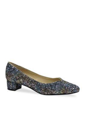 3e1ba58ad63 J Reneé Women s Bambalina Pump Glitter Fabric Sweetheart Topline Low Block  Heel Pump1.25 In - Blue Gold Multi - 6.5M