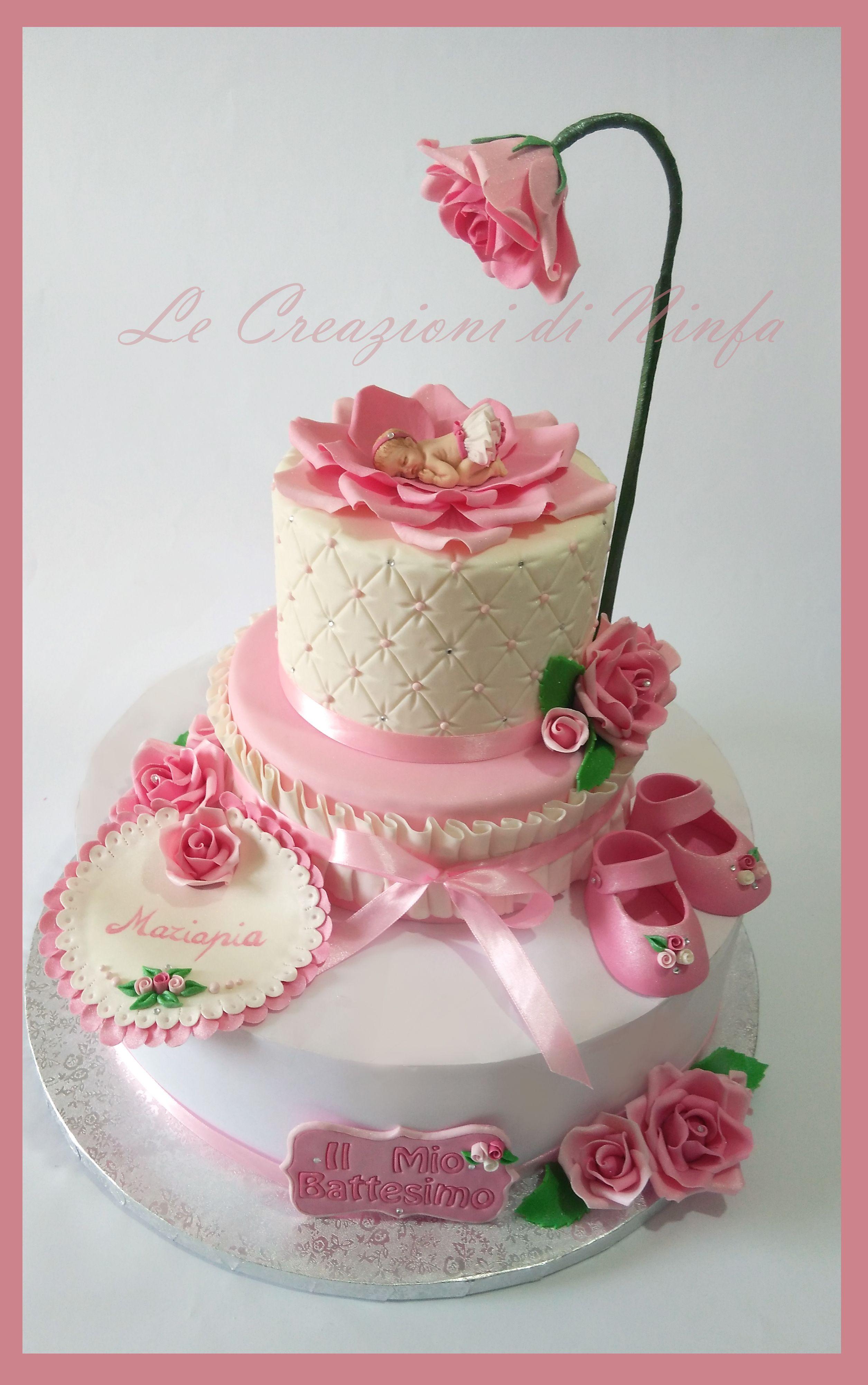 Torta Effetto Trapunta Tutorial.Torta Battesimo Bimba In Rosa Topper A 2 Piani Dummy Per Battesimo