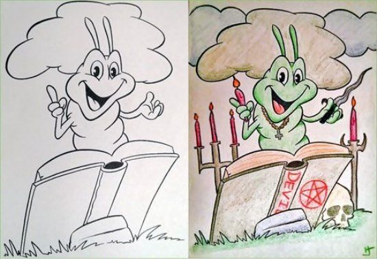 Coloring Book Corruption Satanic Caterpillar