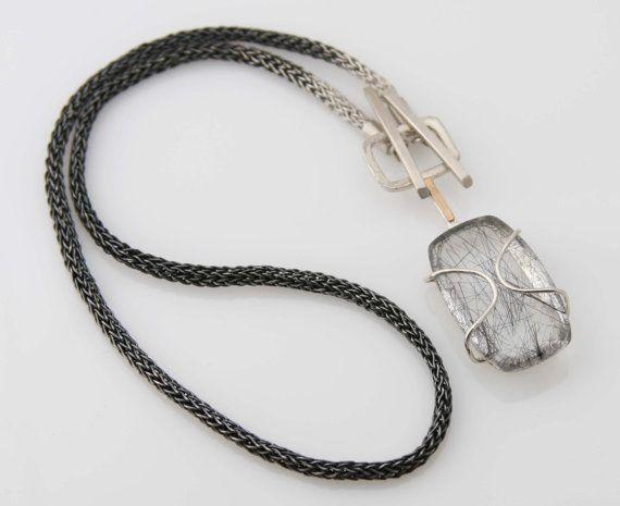 Black Rutilated Quartz Toggle Pendant Handwoven Chain - Toggle Me Pendant