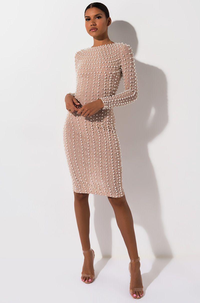 5cd44e1789c9 AKIRA Label Mesh Based Pearl Embellished Long Sleeve Maxi Dress in Nude