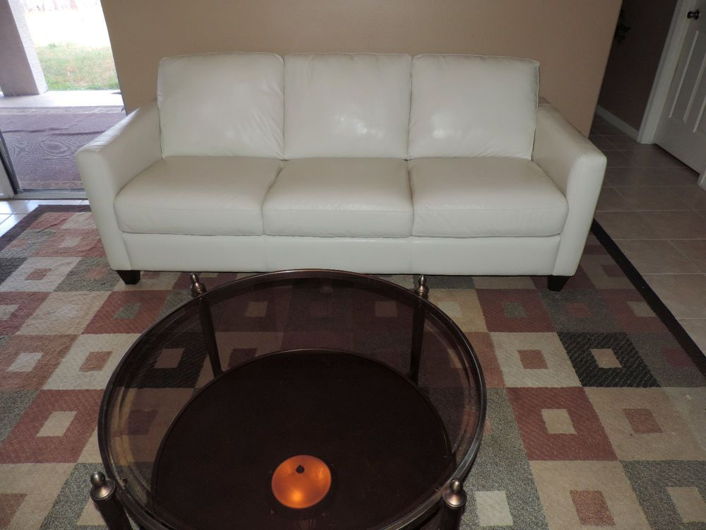 Macy S Emilia Cream White Designer Leather Sofa By Natuzzi