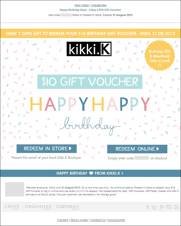 The Best Of Email – Kikki.K: Enjoy A $10 Gift Voucher (Birthday Email)