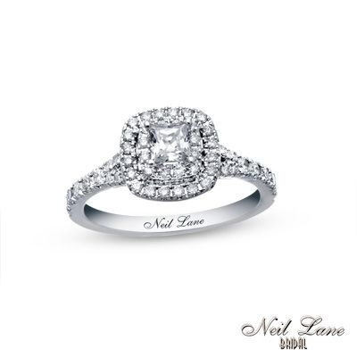 Delightful Neil Lane Bridal® Collection 1 CT. T.W. Princess Cut Diamond Frame Engagement  Ring In 14K White Gold