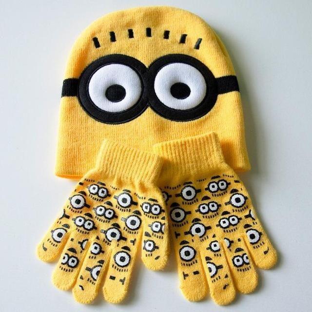 f670dcb0e05 Autumn Winter Girls Boys Hat Set Cartoon Spider Man Warm Cap knitted Hat  Gloves Children Hat Sets