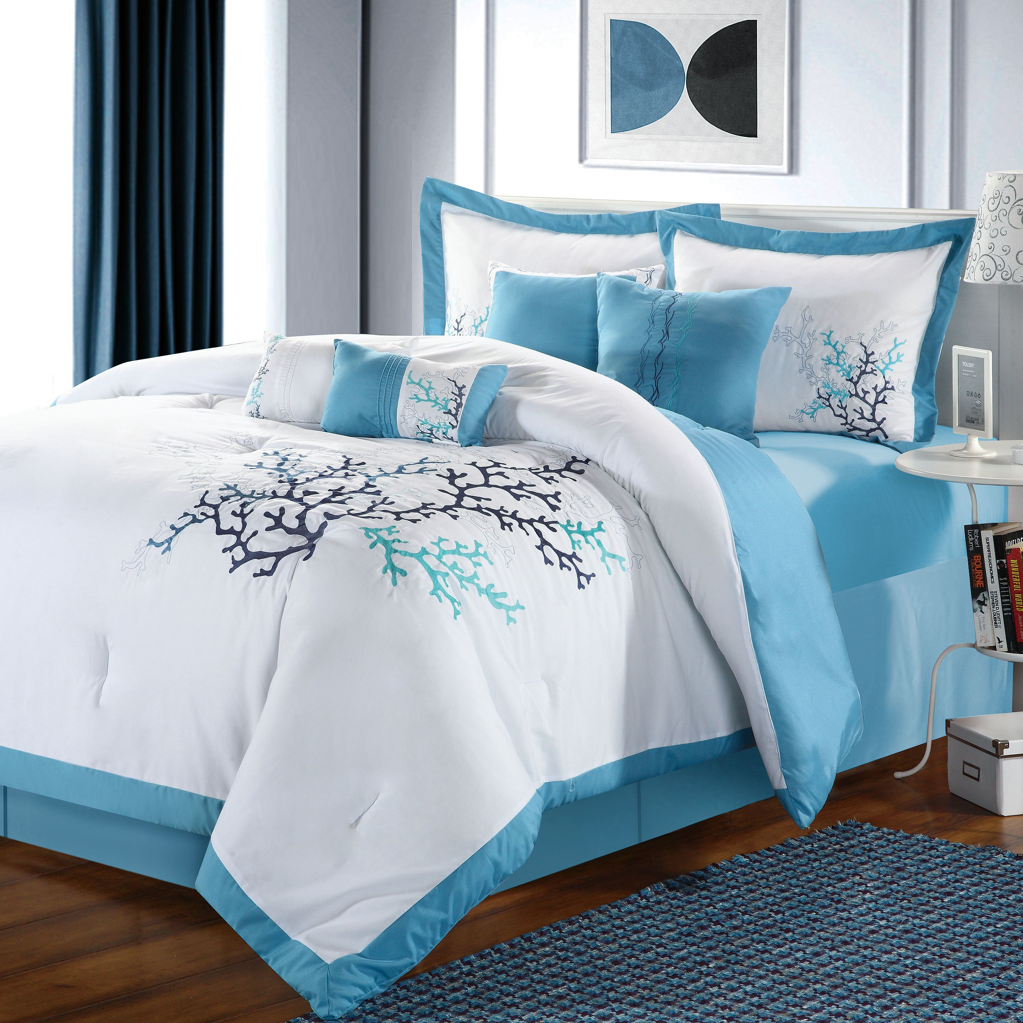 Chic Home Coral Reef 8 Piece Comforter Set Comforter Sets Beach Bedding Sets Luxury Bedding Set