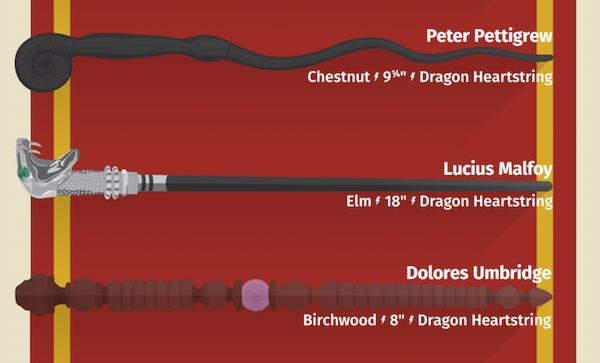 Infographic The Magic Wands Of Every Harry Potter Character Harry Potter Characters Wands Potter