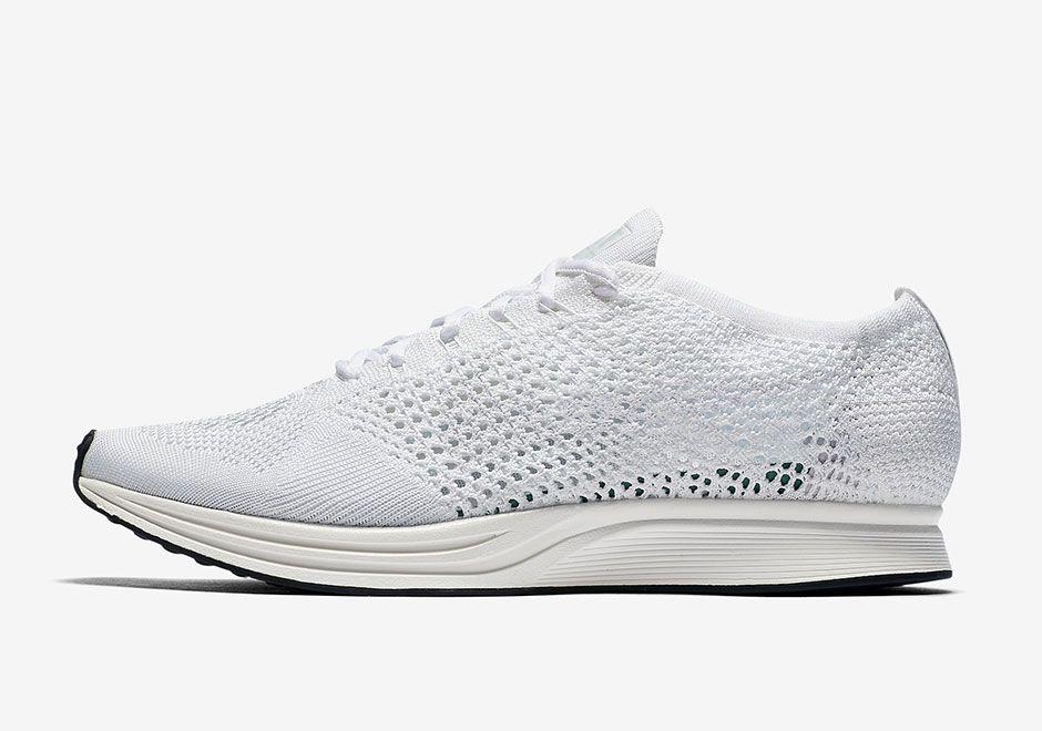 All white Nike Flyknit Racer