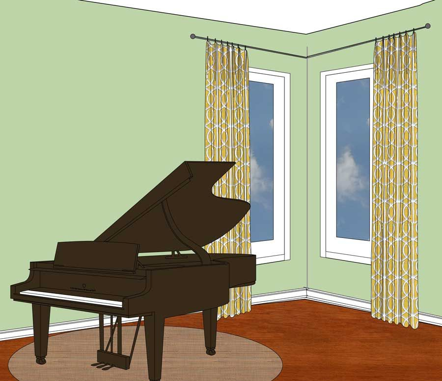 How To Put Window Treatments On Corner Windows Use 2 Curtain Rods