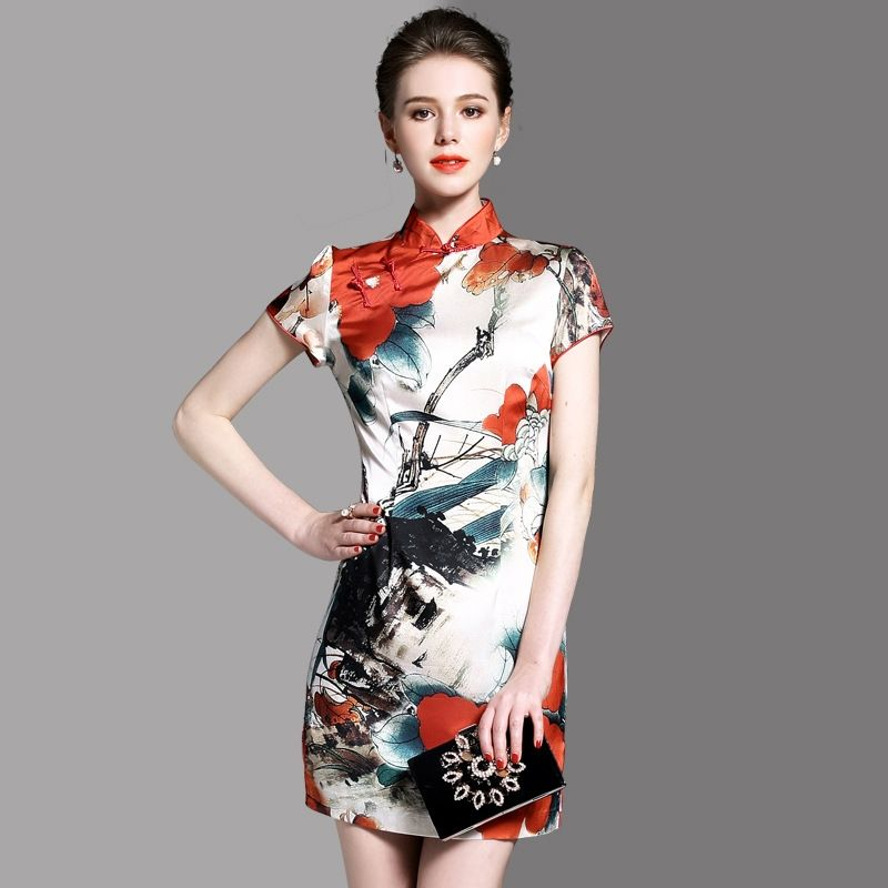 c8d864780ed 30% Off Your Fist Order! -  58.39 - Chinese Style Print High Neck Short