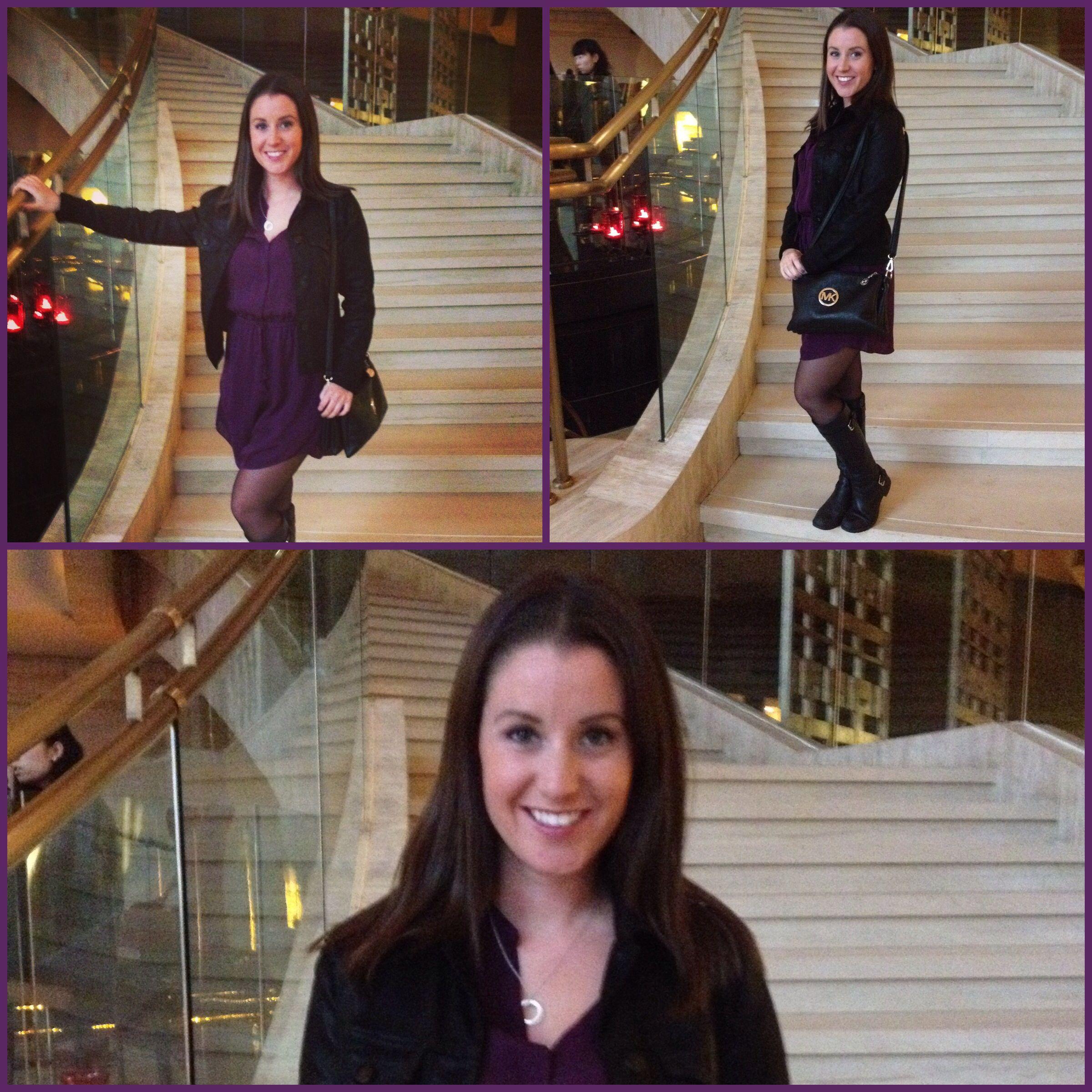 Purple Silk Babbaton Dress from Aritzia, Black Waxed Denim J Brand Jacket from Holt Renfrew, Michael Kors Purse, Tiffany Necklace, Ralph Lauren Boots