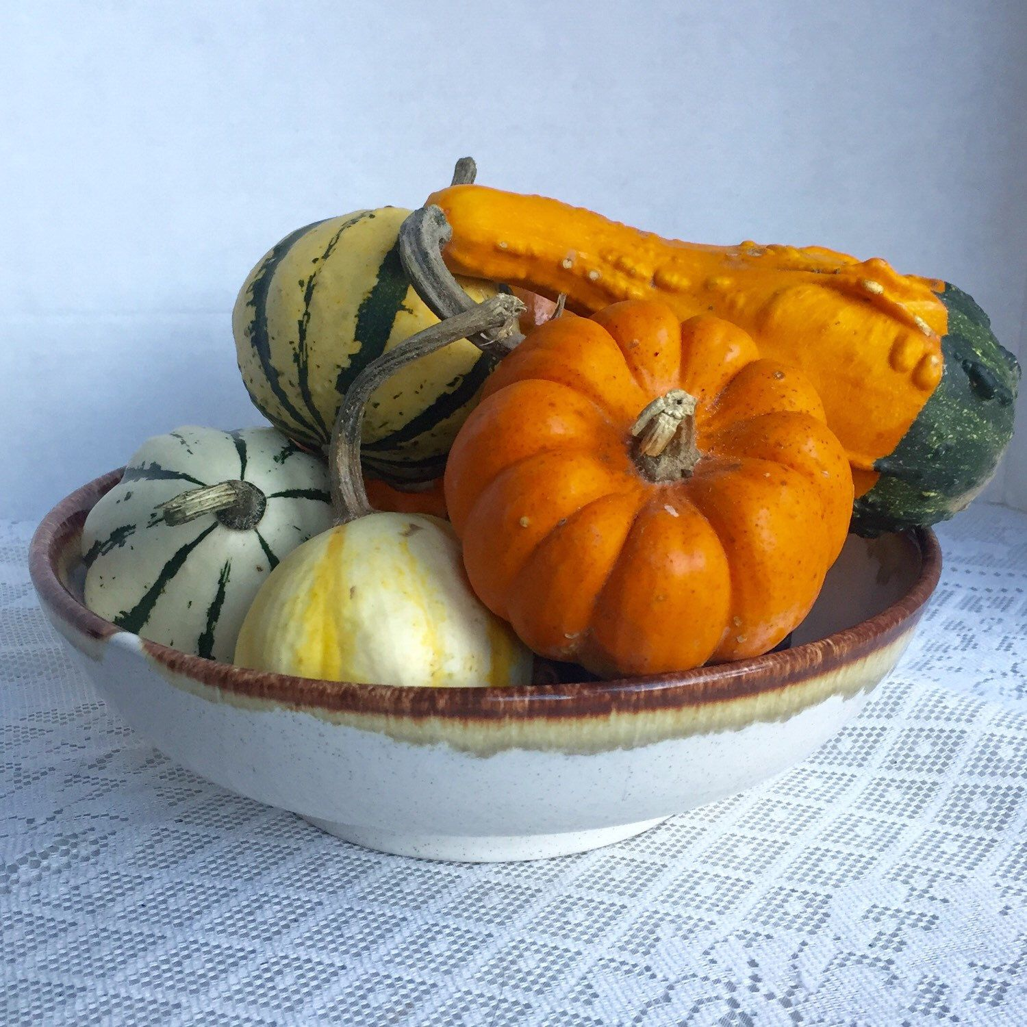 This vintage drip glaze serving bowl by Pfaltzgraff is perfect for all of your autumn centerpieces.