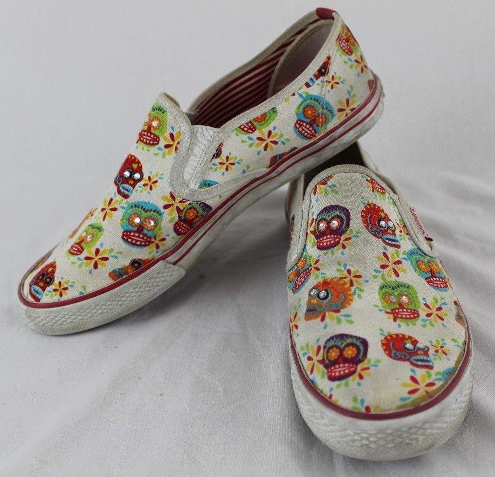 Skechers Cali Sugar Skull Slip On Flat Women S Shoes Size 8 5