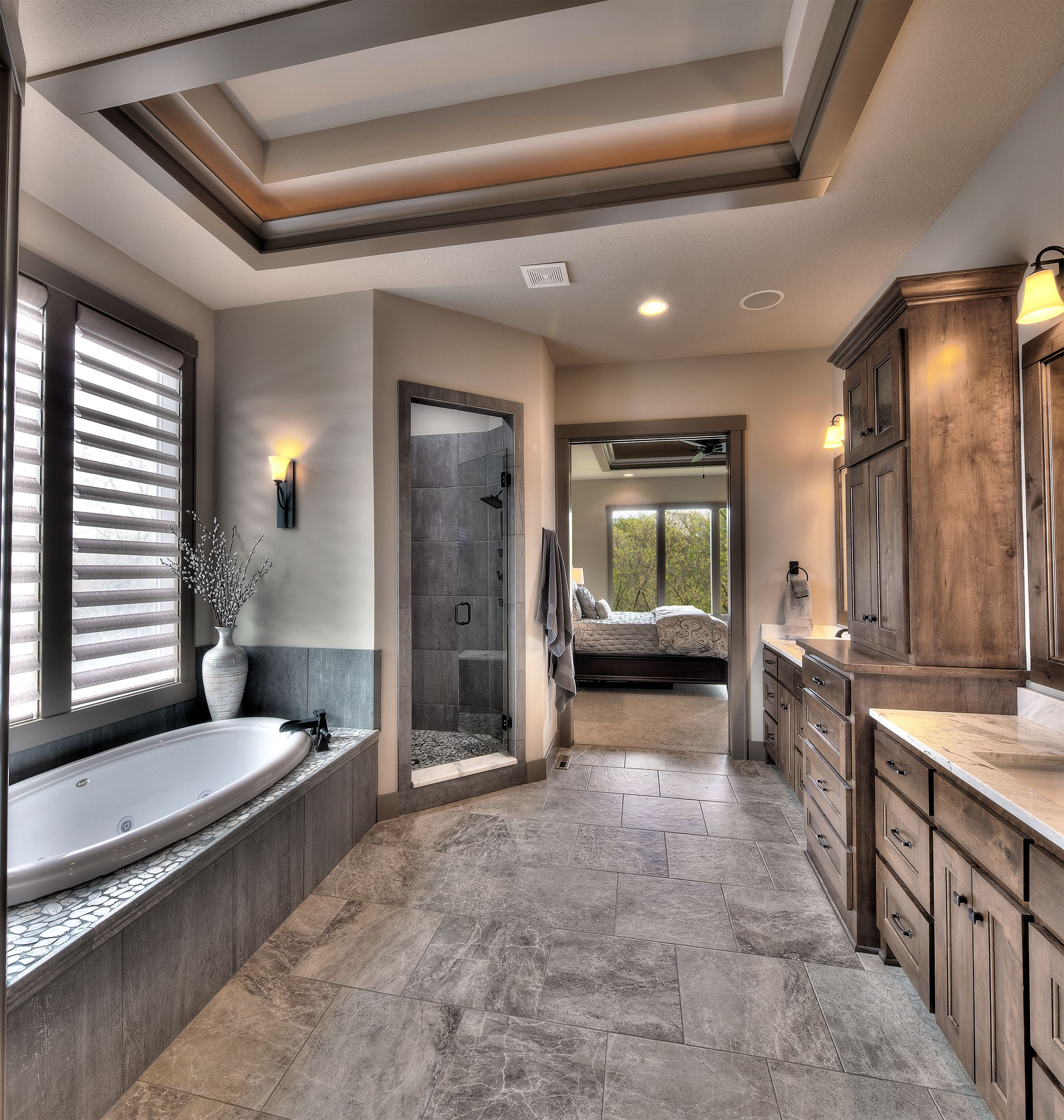 Master Bathroom His And Her Sinks Angled Shower Door