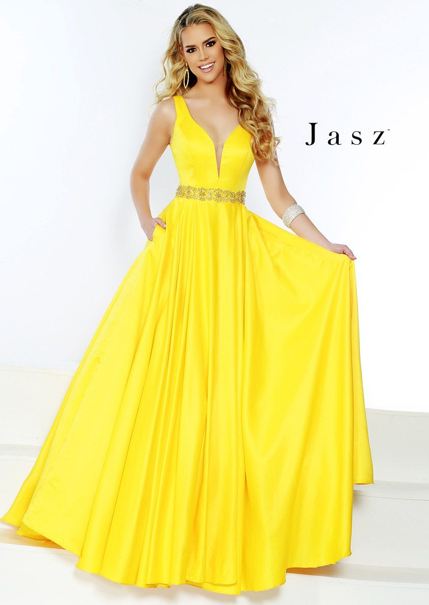 1de38ab37d Style 6421 from Jasz Couture is a sleeveless deep V neck prom gown with a  beaded waist
