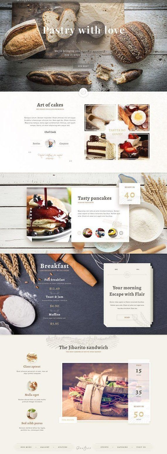 Bakery Psd Website Template A Free One Page Website Template For Bakeries Designed And Released B In 2020 Food Web Design Web Layout Design Restaurant Website Design