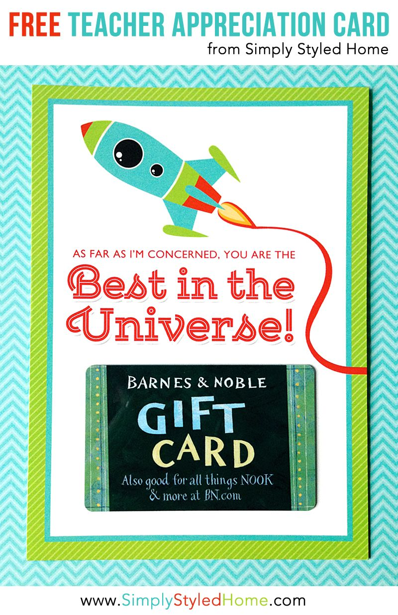 picture regarding Barnes and Noble Printable Gift Card named Absolutely free Trainer Appreciation Present Card - Perfect in just the Universe
