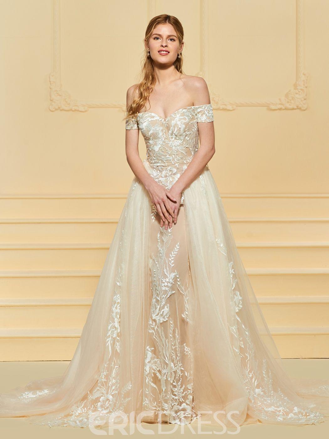 Off the shoulder tulle appliques wedding dress wedding dresses