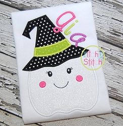 Ghost Witch Applique - 3 Sizes! | What's New | Machine Embroidery Designs | SWAKembroidery.com The Itch 2 Stitch