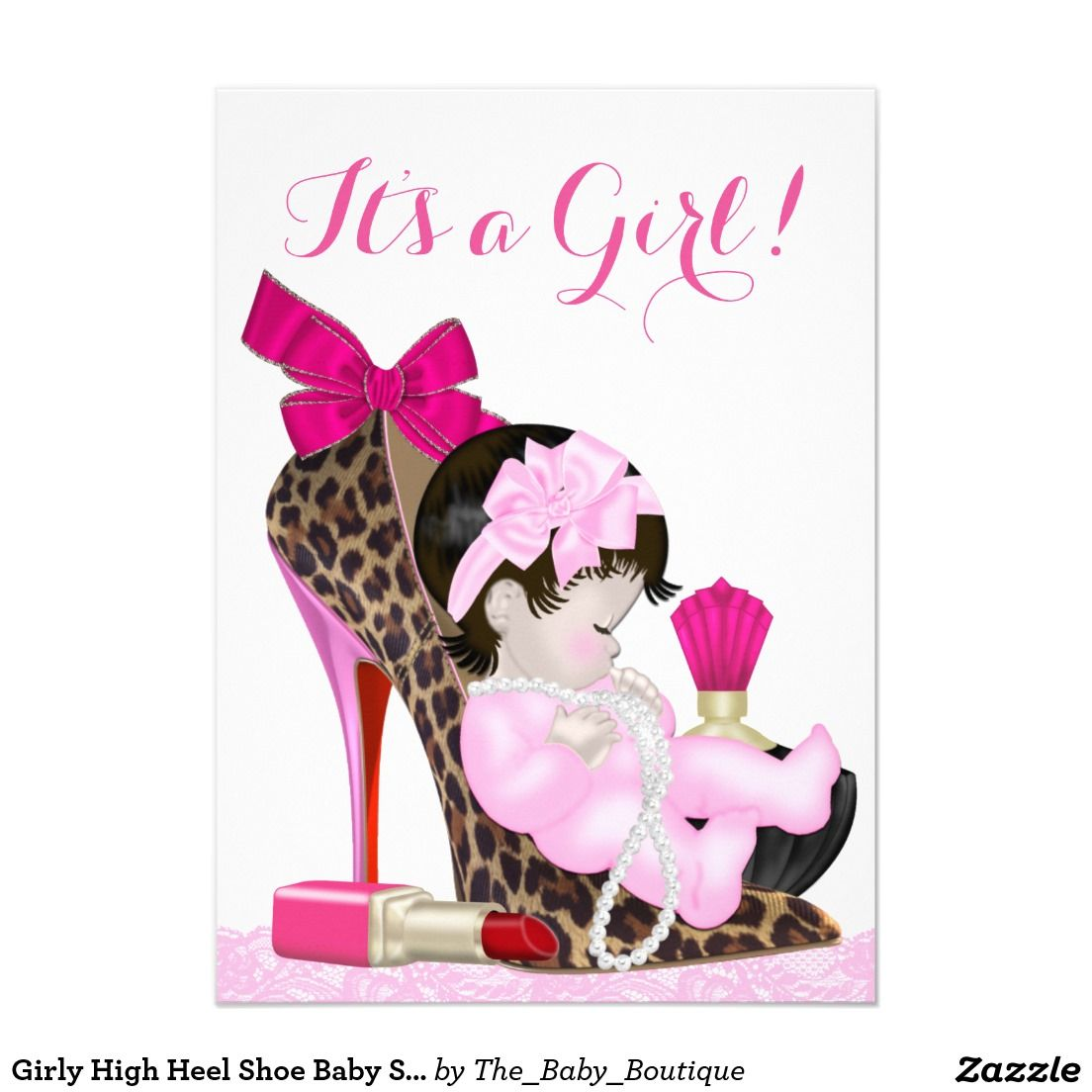 girly high heel shoe baby shower invitation. Black Bedroom Furniture Sets. Home Design Ideas