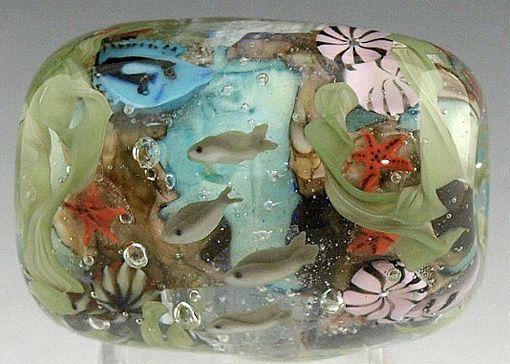 Handmade Lampwork Focal bead Creeky Beads SRA cottage garden!