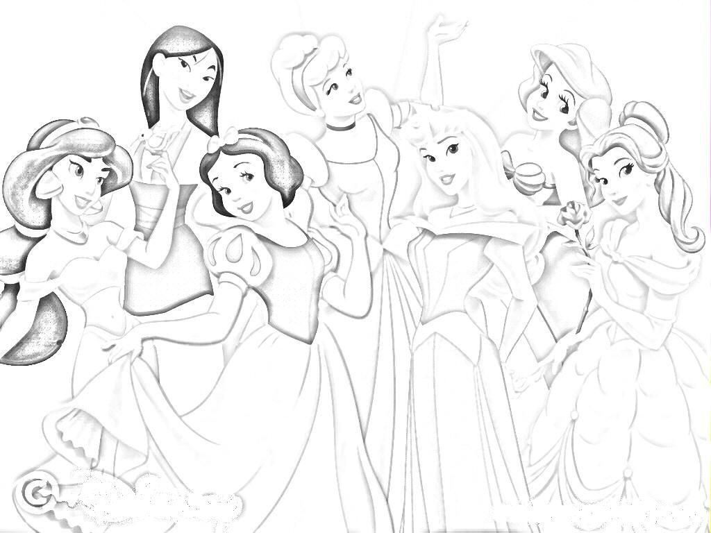 Disney princess cartoon coloring pages