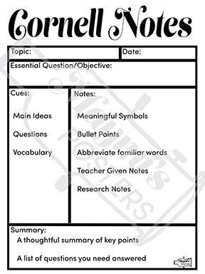 Avid Cornell Notes Poster  Cornell Notes Note And Anchor Charts