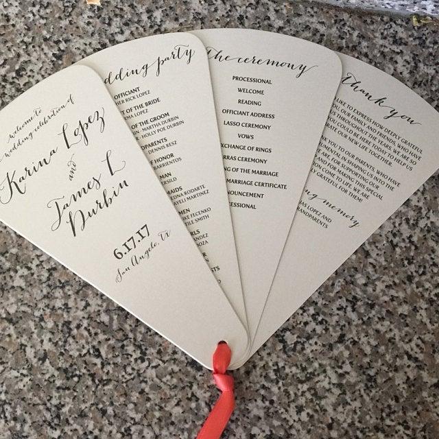 Custom Wedding Programs 4 Blade Petal Fan Program Satin
