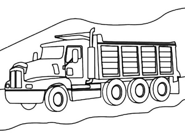 3 Axle Dump Truck On Mountain Road Coloring Page Kids Play Color Truck Coloring Pages Coloring Pages Superhero Coloring