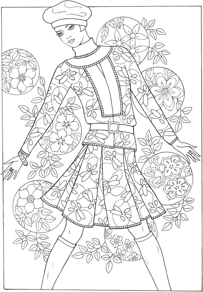 Creative Haven Fabulous Fashions Of The 1960s Coloring Book Dover Publications Fashion Coloring Book Coloring Books Coloring Pages
