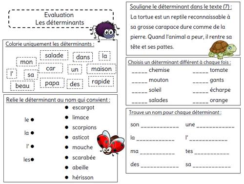Evaluation Sur Le Determinant L Ecole De Crevette Les Determinants Exercice Francais Ce1 Ecole De Crevette