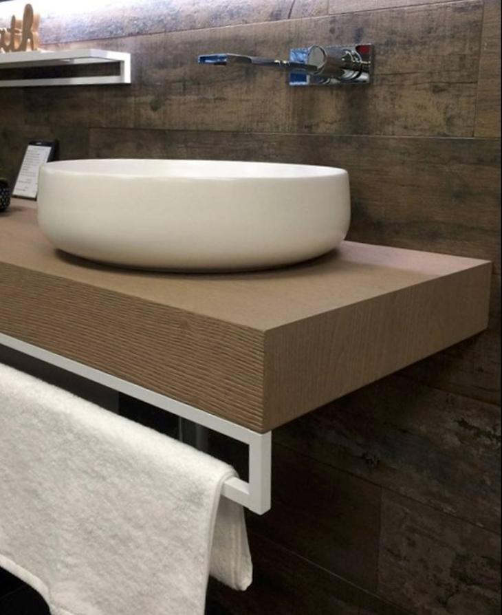 mobilier de salle de bain plateau imitation bois suspendu ...