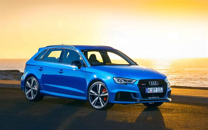 Download Wallpapers 4k Audi Rs3 Sportback 2017 Cars Tuning Blue Rs3 Sunset German Cars Audi Besthqwallpapers Com Audi Rs3 Audi Rs3 Sportback