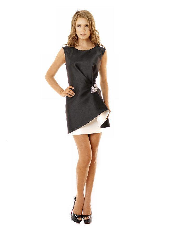 Nicole Bakti Blackwhite Short Dress With Crystal Embelishment