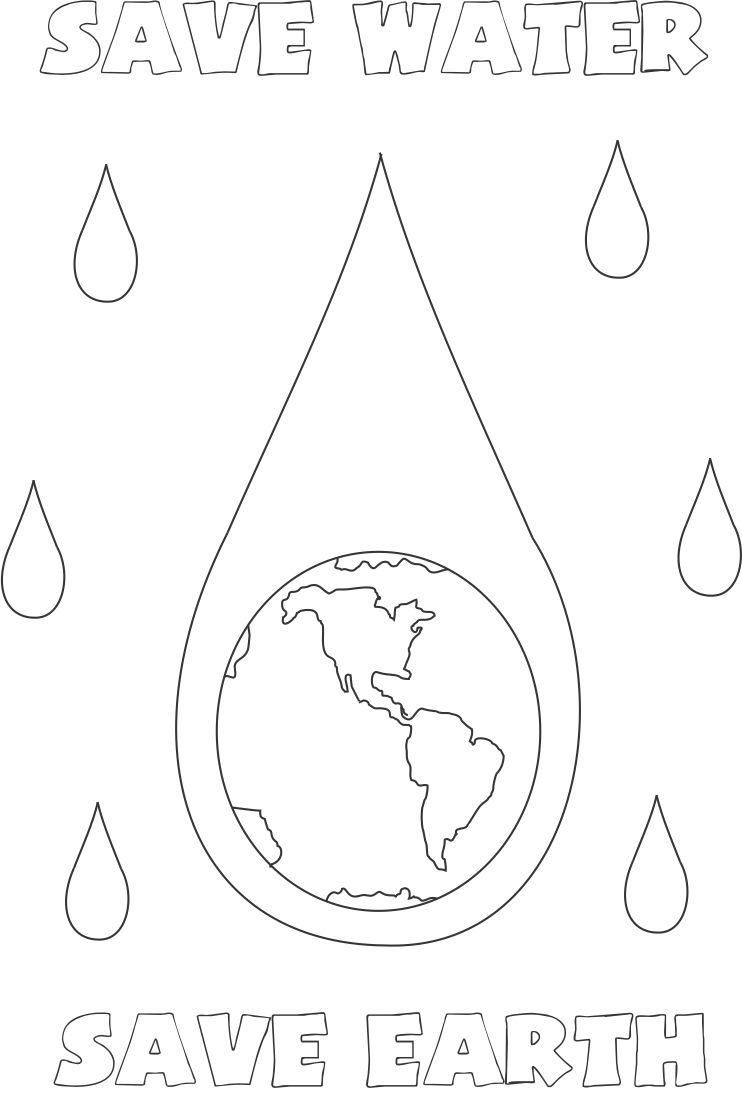 Save Water Earth Coloring Page For Kids Toddler Coloring Book