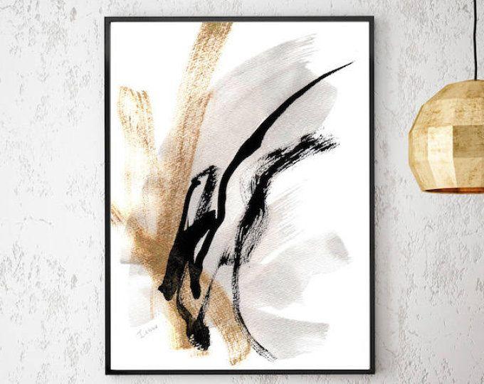 abstrakte bilder schwarz weiss kunstdruck abstrakte malerei schwarz und wei gold drucke gicl e. Black Bedroom Furniture Sets. Home Design Ideas