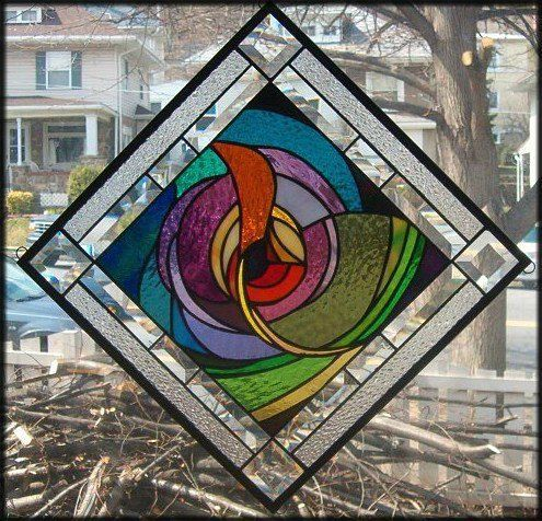 COSMIC RAINBOW Stained Glass Window Panel (Signed and Dated)