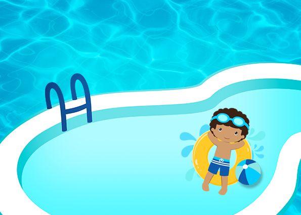 Fiesta en la piscina ni o moreno invitaciones para for Piscina gratuita