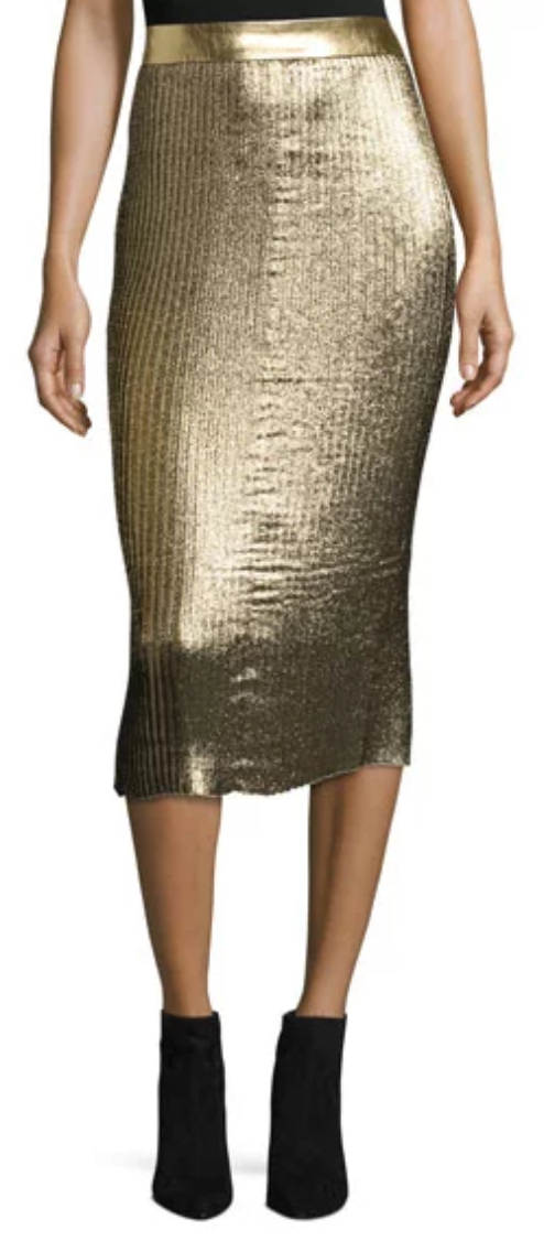 Brana Pleated Glitter Midi Skirt