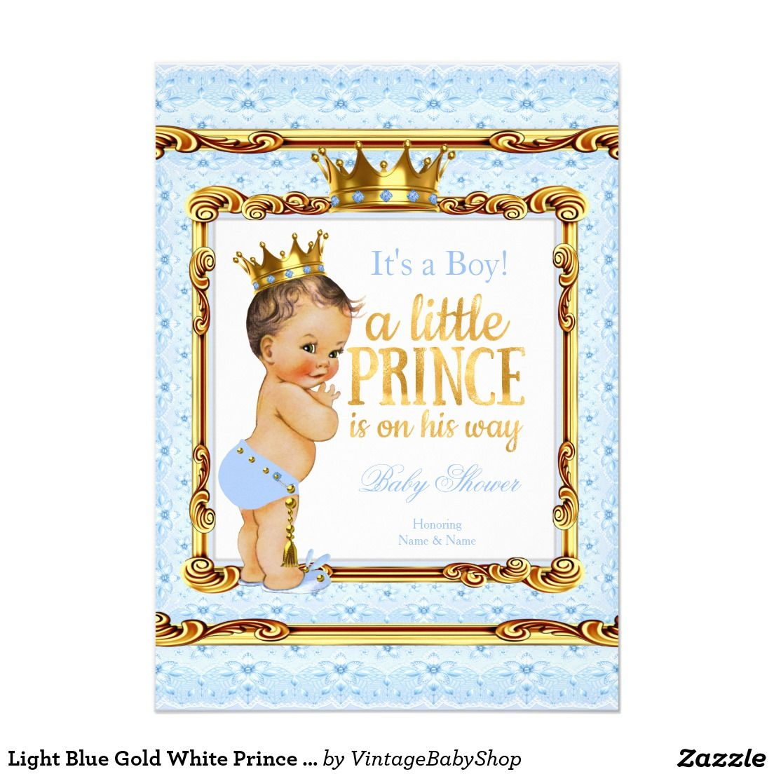 Gold color cardstock paper 5x7 - Light Blue Gold White Prince Baby Shower Brunette 5x7 Paper Invitation Card
