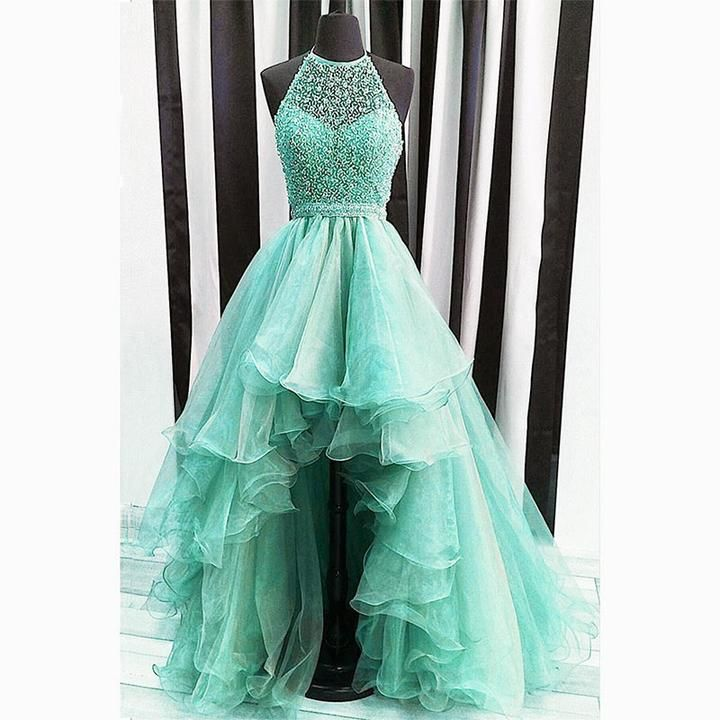 Cheap Wedding Dresses Jackson Ms: High Low Prom Dress Beading Blue And Fuchsia Two Tunes