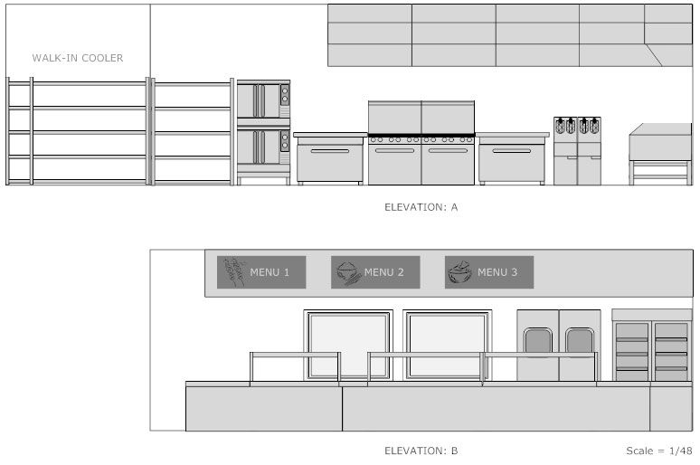 Restaurant Kitchen Elevation Plan Restaurant Floor Plan