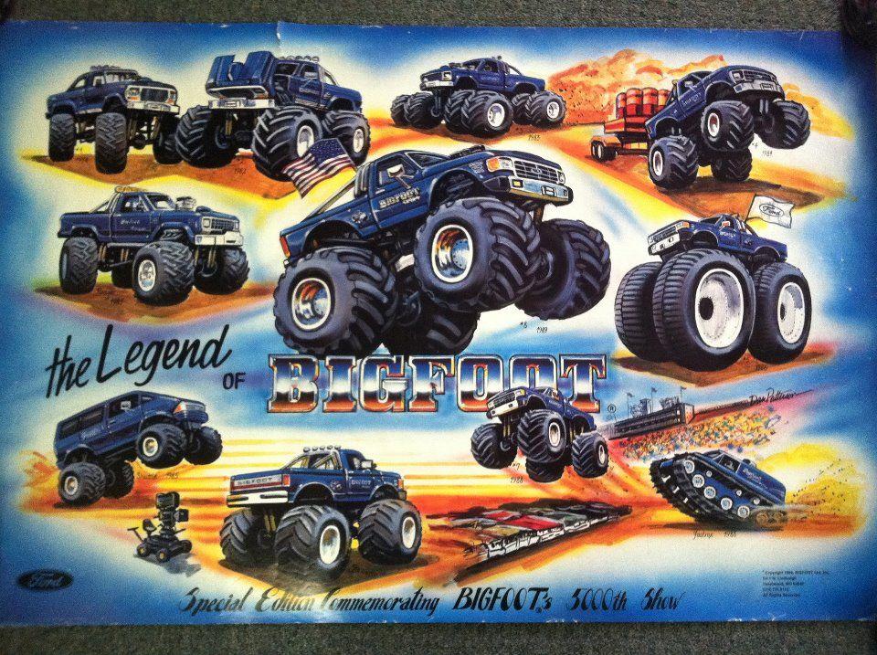 Old School Bigfoot Poster Monster Truck Art Monster Trucks Big