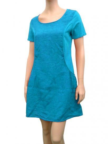 Leinenkleid A-Form, türkis | Kleider, Tunika kleid und ...