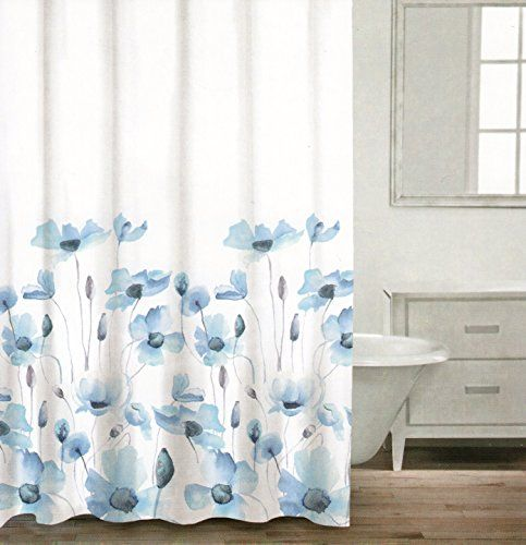 Caro Botanical Nature 100 Cotton Shower Curtain Floral Poppy Seed Flower Design Gray Blue Ash