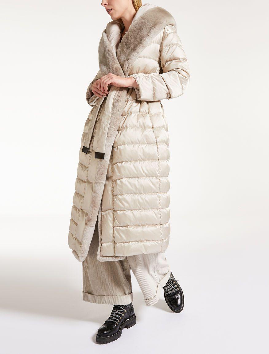 buy online 24f41 43147 Max Mara NOVELAP ghiaccio: Piumino reversibile con cappuccio ...